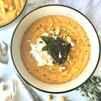 Butternut Squash, Pear and Pumpkin Soup with Crispy Sage