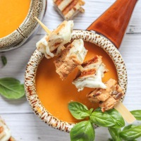Roasted Tomato Soup with Grilled Cheese Crouton Skewers
